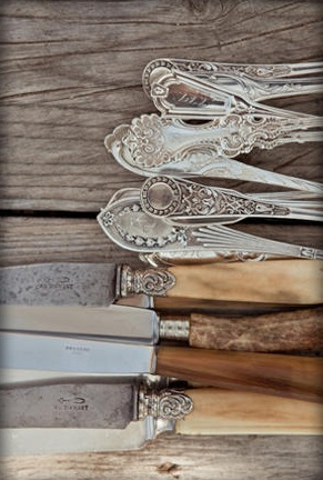 vintage / antique cutlery, bone handled repinned by www.silver-and-grey.com knives