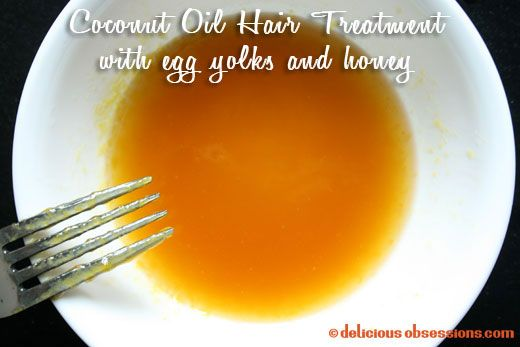 Coconut Oil Hair Treatment makes one treatment Ingredients - 2 tbsp. coconut oil 2 tbsp. raw honey 1 large egg yolk...