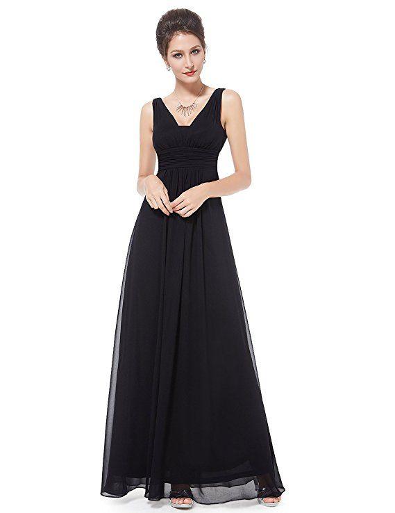 16525c35ac Ever-Pretty Deep V-Neck Wedding Dresses for Bridesmaids 4US Black ...