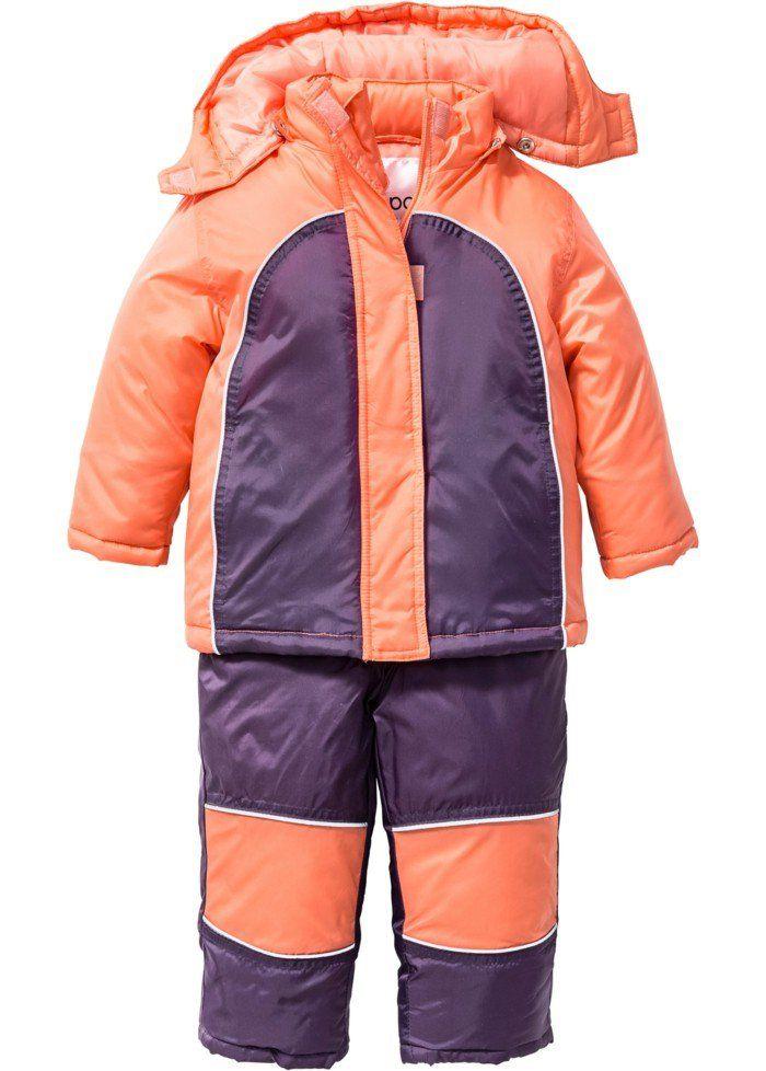 vetement de sport enfant combinaison de ski Bonprix couleur melon et violette