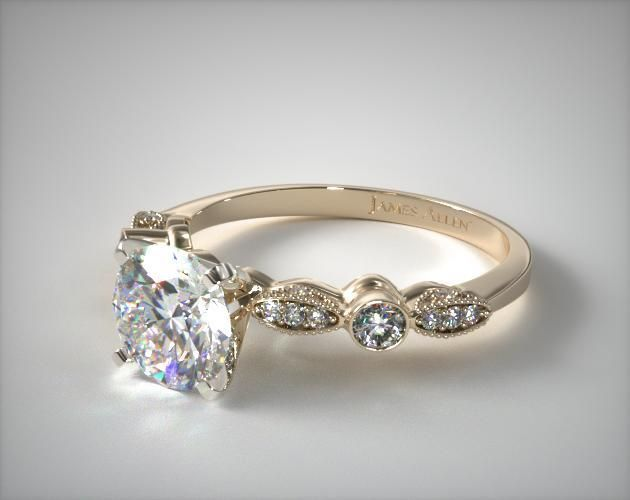 51163 engagement rings, vintage, 14k yellow gold antique bezel and pave set engagement ring item - Mobile