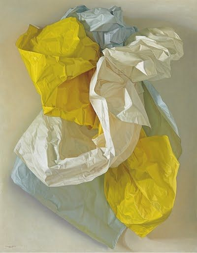 """Claudio Bravo, White, Blue and Yellow Papers, 2004, oil on canvas, 57 1/2"""" x 45"""""""