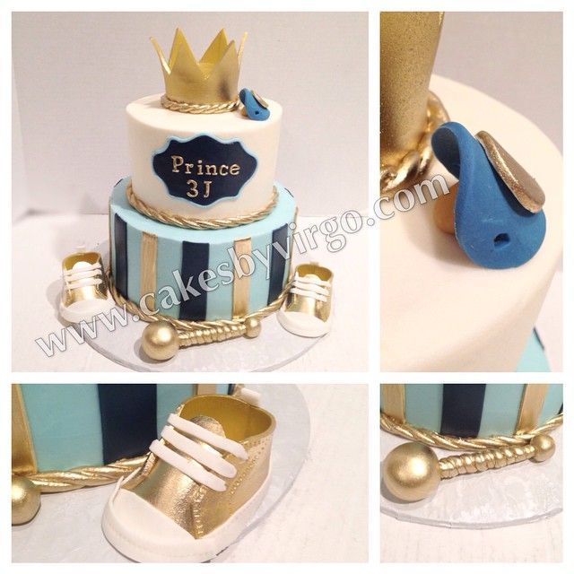 Prince themed baby shower cake with edible crown, shoes, pacifier and rattle