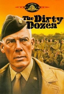 The Dirty Dozen (1967) - Lee Marvin, Charles Bronson, Ernest Borgnine, George Kennedy & Jim Brown - A Major with an attitude problem and a history of getting things done is told to interview military prisoners with death sentences or long terms for a dangerous mission; To parachute behind enemy lines and cause havoc for the German Generals at a rest house on the eve of D-Day.
