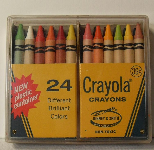 1960s Crayola Crayons Vintage Box of 24 in Plastic Case. My sister had this set. I thought the plastic case was so RAD.