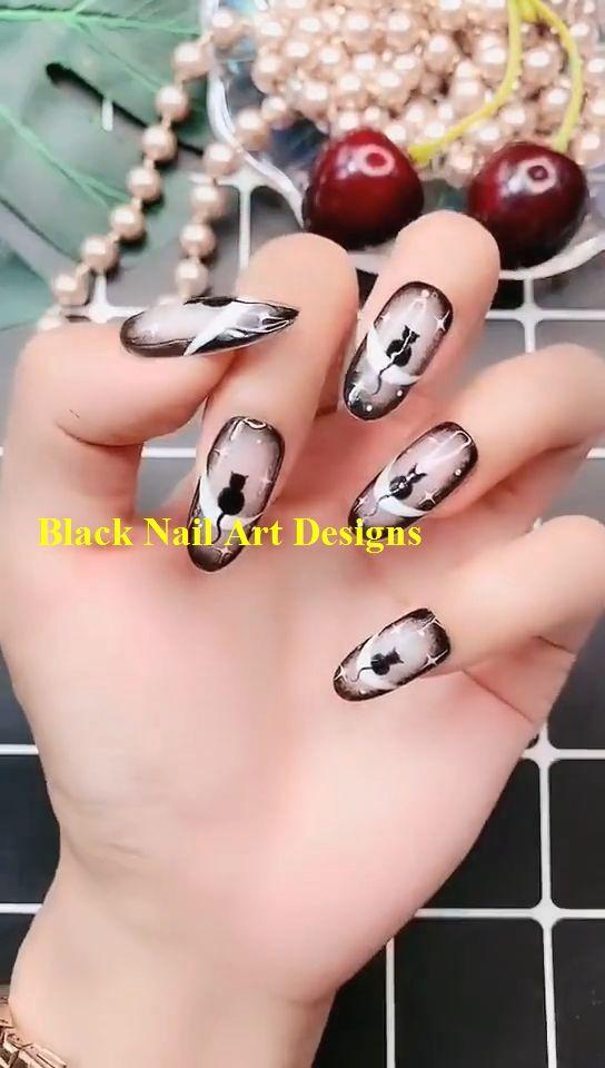 Hand painted night sky kite nail video tutorial   – Dark Nails