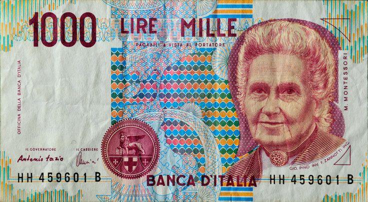 Italian Lira | 1000 italian lira (Maria Montessori) — Fotopedia