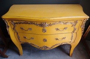 Africa then & now - Provenance Auction House: A Yellow Painted Louis XV Style Commode. Serpentine moulded edge top, fitted with two flush drawers, on bracket feet. 870 x 1290 x 600mm.