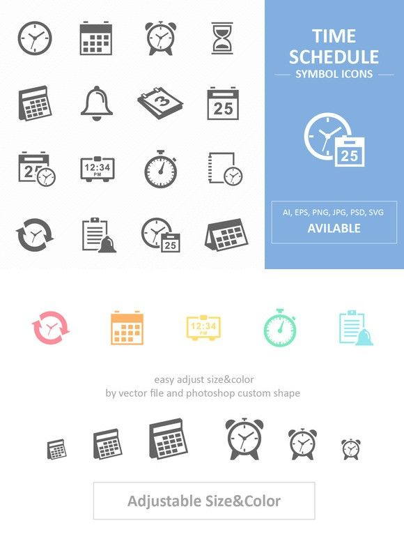 Time and Schedule Symbol Icons. Business Infographic