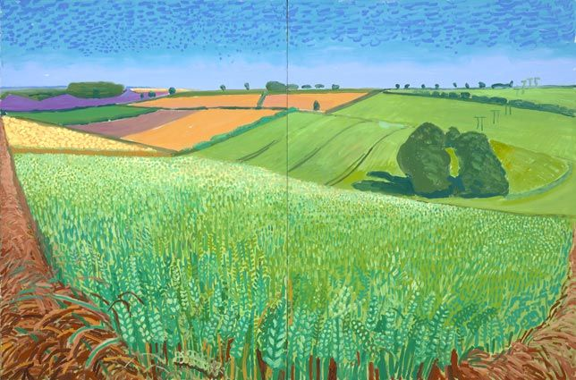 David Hockney Landscapes | David Hockney The East Yorkshire Landscape, Barley, Wheatfield ...