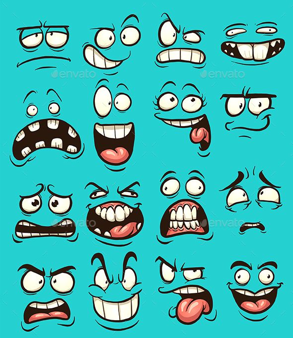 Funny cartoon faces with different expressions. Vector clip art illustration with simple gradients. Each on a separate layer. EPS1