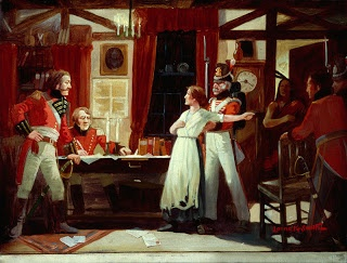 Laura Secord warns FitzGibbon during the #Warof1812  http://discover1812.blogspot.ca/2013/06/canadas-heroine-laura-secord.html
