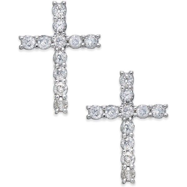 Diamond Cross Stud Earrings (3/8 ct. t.w.) in 14k White Gold (€725) ❤ liked on Polyvore featuring jewelry, earrings, white gold, diamond stud earrings, 14 karat gold stud earrings, white gold cross earrings, 14 karat white gold earrings and diamond cross earrings
