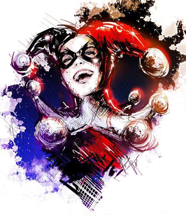 Harley Quinn Portrait by Vincent Vernacatola - Batman Comics Art