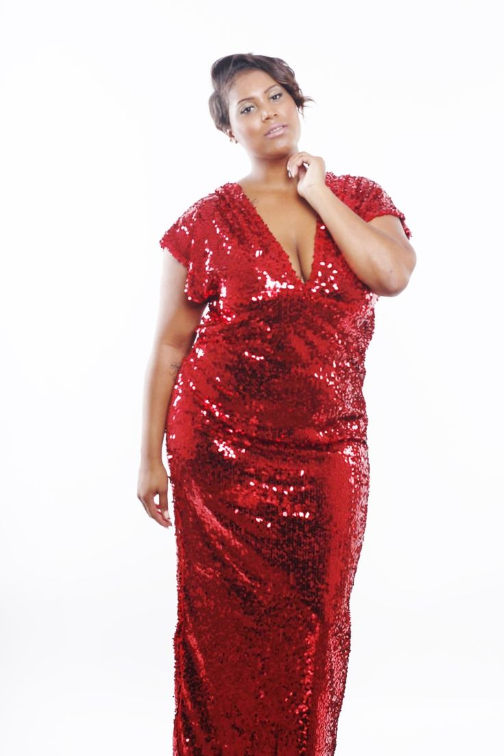 Red and silver plus size dress
