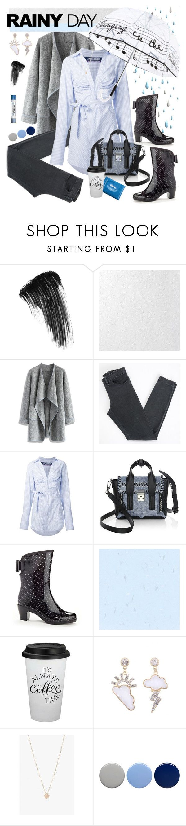 """Splash Splash: Rainy Day Style"" by hubunch ❤ liked on Polyvore featuring Eyeko, Graham & Brown, Chicwish, Acne Studios, Jacquemus, 3.1 Phillip Lim, Kleenex, Henry Ferrera, Carmen Diaz and Chapstick"