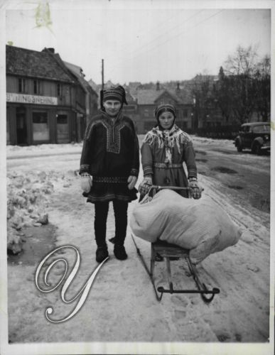 1945 Couple in Native Dress with Norwegian Sled in Tromso Norway News Service Ph | eBay