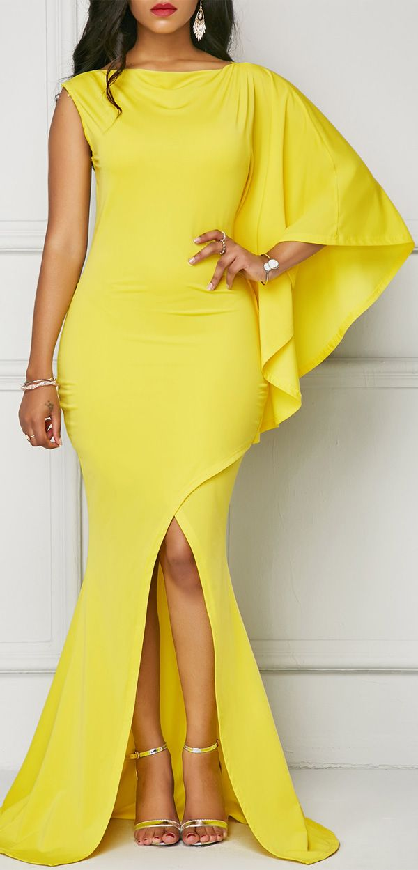 One Sleeve Front Slit Yellow Maxi Dress