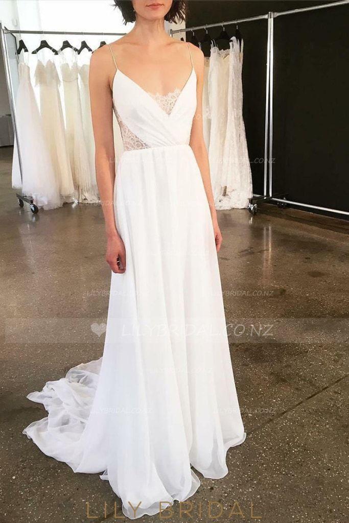 Boho V Neck Spaghetti Strap Chiffon Bridal Dress With Detachable