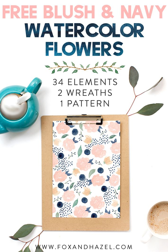 Use these free blush & navy watercolor flowers for your next project! Perfect for invitations, prints and more. #foxandhazel #watercolorgraphics #freedownload #watercolorflowers #flowerclipart #freeclipart #watercolorart