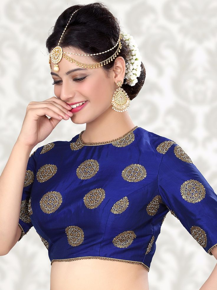 Attractive Raw Silk Blue Ready Made Blouse For price or detail do whatsApp +91-9913433322