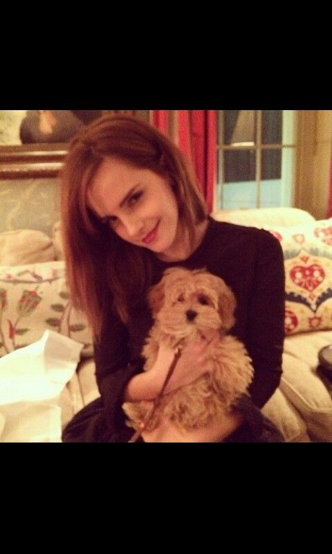 Perfection - Emma Watson..the dog is so cute...but emma is cuteness overloaded<333