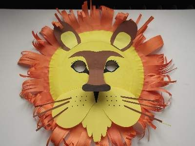 A home made paper plate lion mask with features like the real animal.