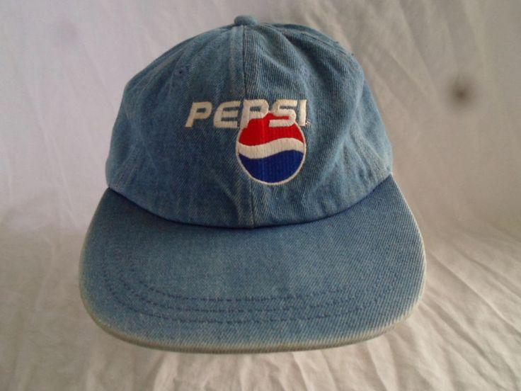 Vintage Pepsi Denim Baseball Cap Dad Hat Strapback Embroidered Logo #Unbranded