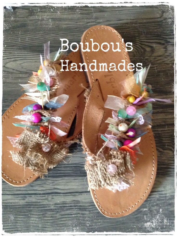 Leather DIY handmade sandals ! Colorful and playful !!!!