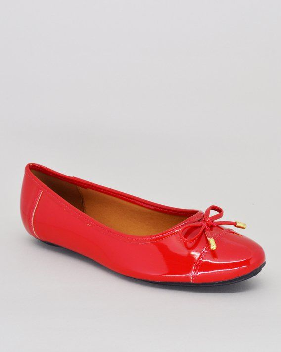 f34637a269 Sapatilha feminina Vizzano vermelha em verniz com detalhe em laço. Cor   Vermelho Acabamento