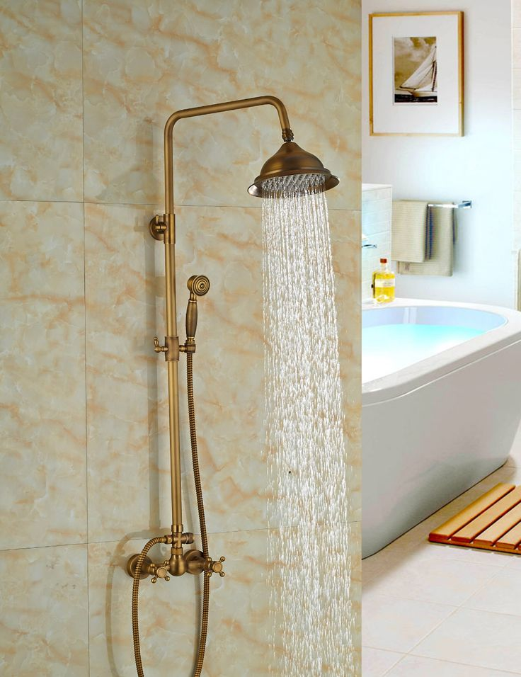 Wholesale And Retail Solid Brass Antique Style Rain Shower Head Faucet Dual Cross Handles Shower Mixer Tap W/ Hand Sprayer