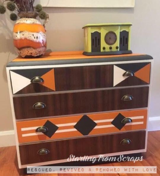 Retro Design Art Deco Chest of Drawers in Annie Sloan Chalk Paint