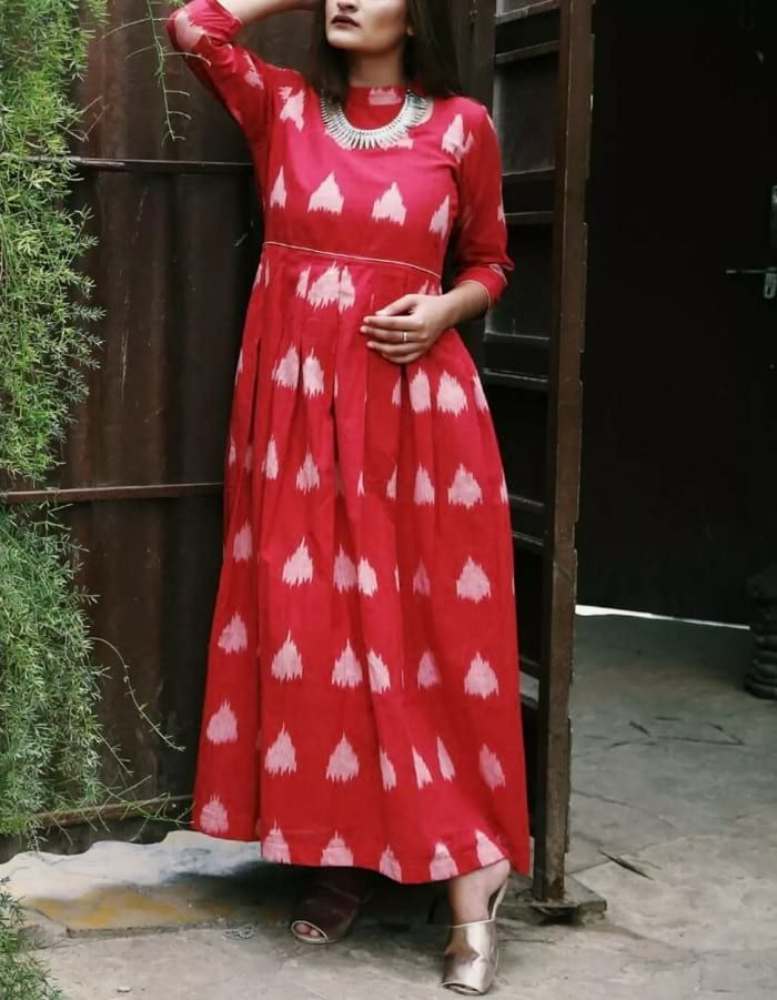 Red Ikat Print 3/4 Sleeve Long Kurti