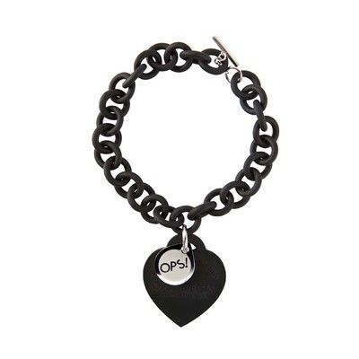 OPS!Objects Ops! Love-black velvet touch rubber bracelet with white s.steel clasp toggle $60.00