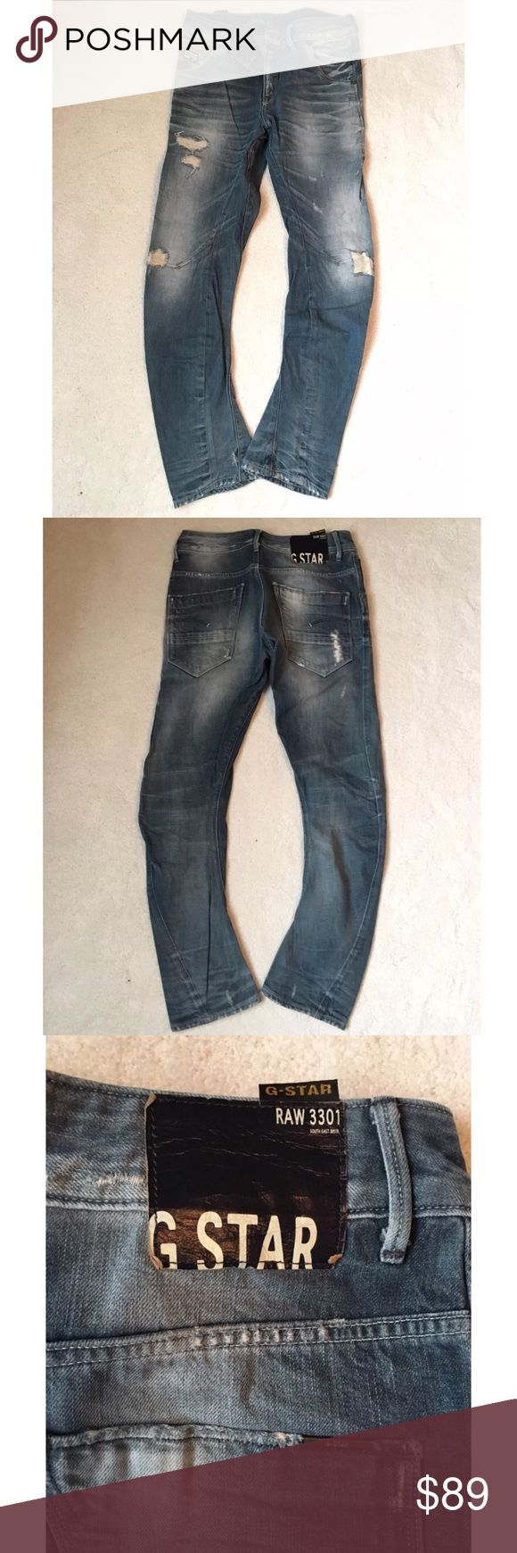 G-Star Raw women jeans, distressed, 3301, blue, 26 Literally wore it less than 5 times. Nothing wrong with it, I can't fit in it anymore... G-Star Jeans