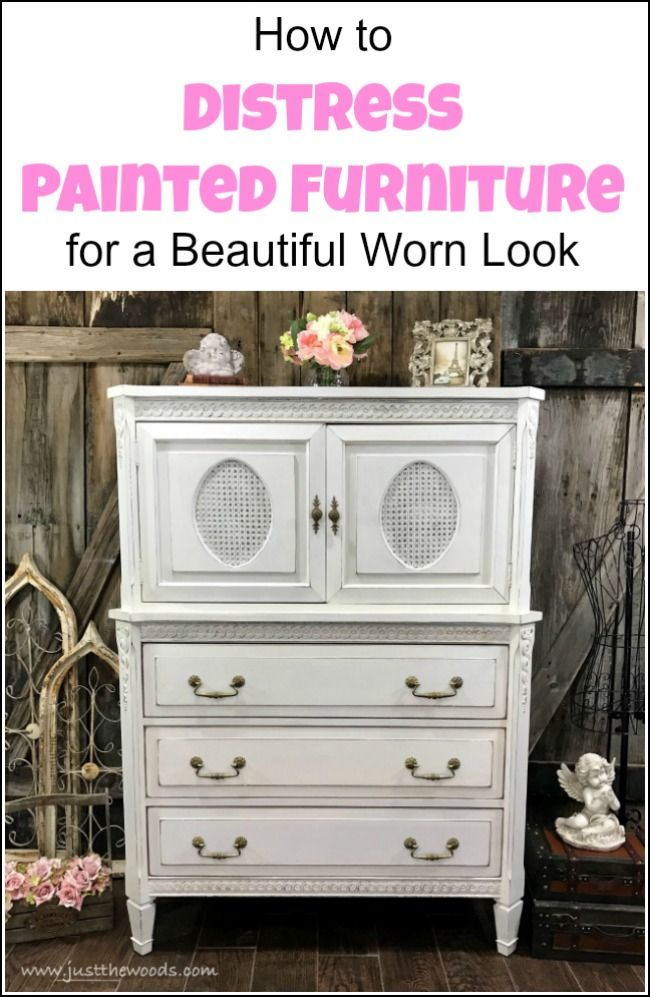 How To Distress Painted Furniture For A Beautiful Worn Look Distressed Furniture Painting White Painted Furniture Distressed Furniture