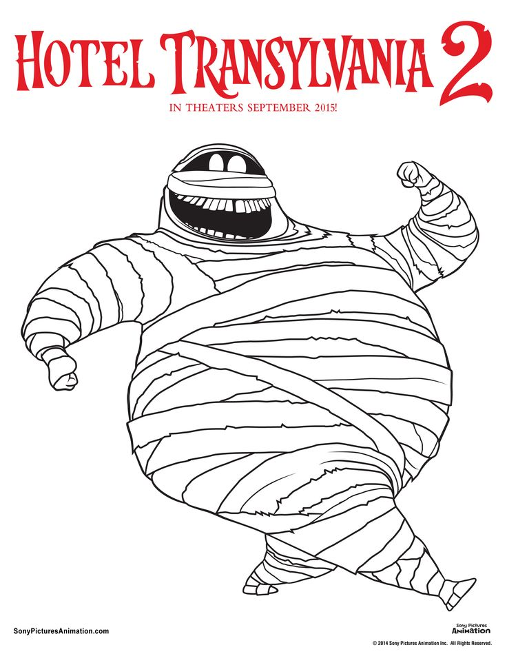 Unearth Your Inner Artist With These Hotel Transylvania 2 Coloring Sheets Nows Chance To Color Murray The Mummy Any Way You Want