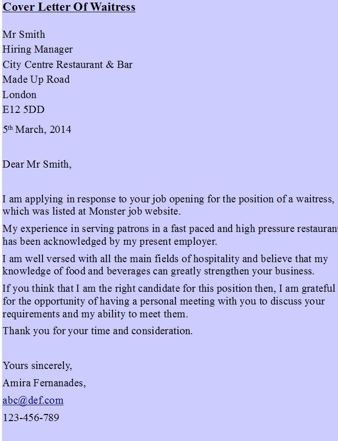 Cover Letter Of Waitress Sample Resume Cover Letter