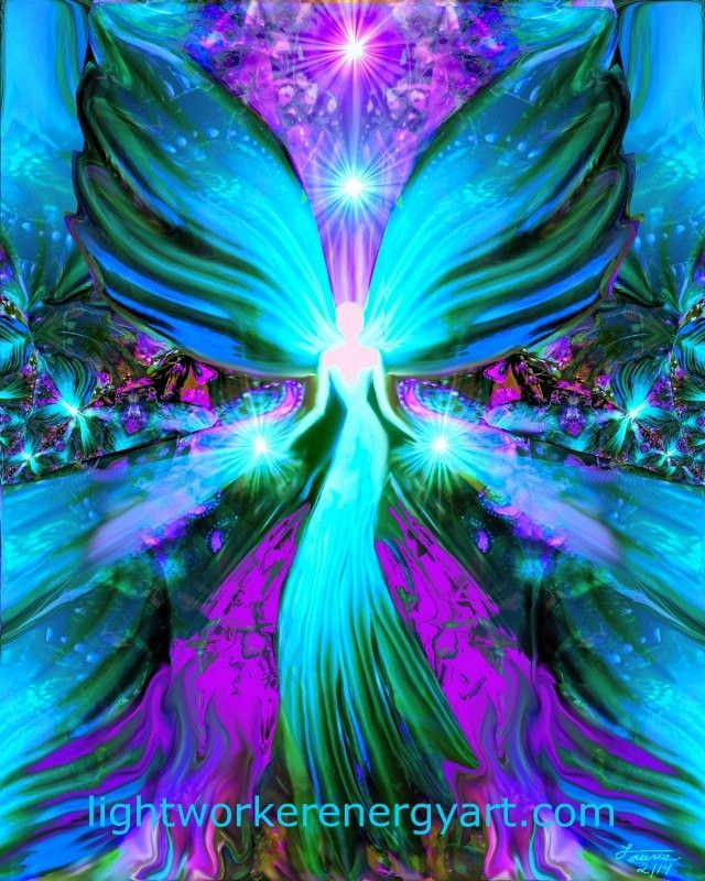 "Healing Angel Reiki Energy Art 8 x 10 Print """"Lightworker"""""