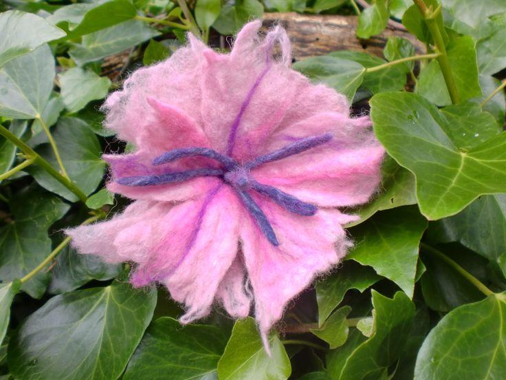 light pink flower wet felt