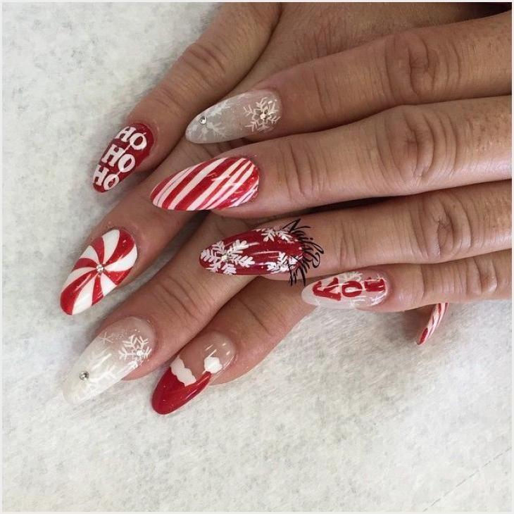 194 Christmas Themed Acrylic Nails Di 2020 Art