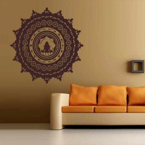 Wall decal art decor decals sticker hands buddhism india indian star buddha om yoga success god
