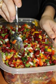 Mediterranean Inspired Kidney Bean Salad Recipe ~ 3 cans of kidney beans, 1 red bell pepper - diced, 1 yellow bell pepper - diced, 1/2 red onion - diced, 1 small bunch of parsley - chopped, 2 lemons - juiced, 1 tbs olive oil, and salt to taste.