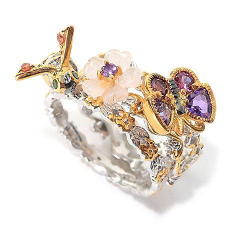 155-399 - Gems en Vogue Set of Three Multi Gemstone Stack Band Rings