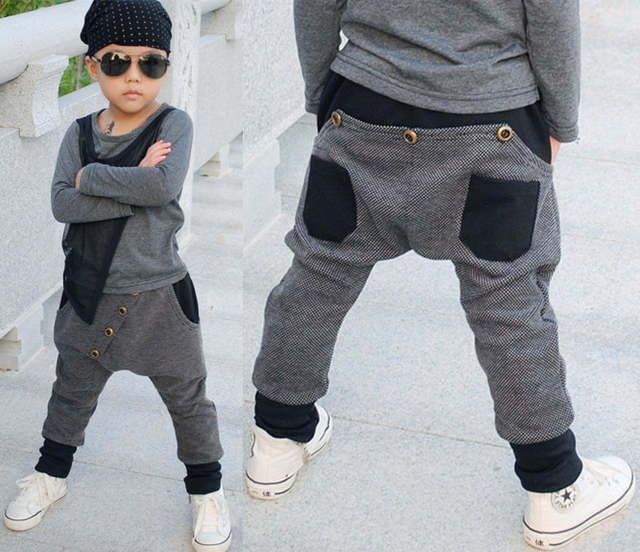 2015 New Fashion Children's Clothing Harem Hip Hop Dance Pants Panelled Spliced Sweatpants Pockets kids Punk sports trousers