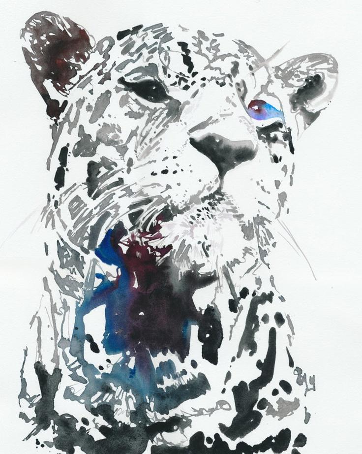 Watercolour Fashion Illustration - leopard. $300.00, via Etsy.