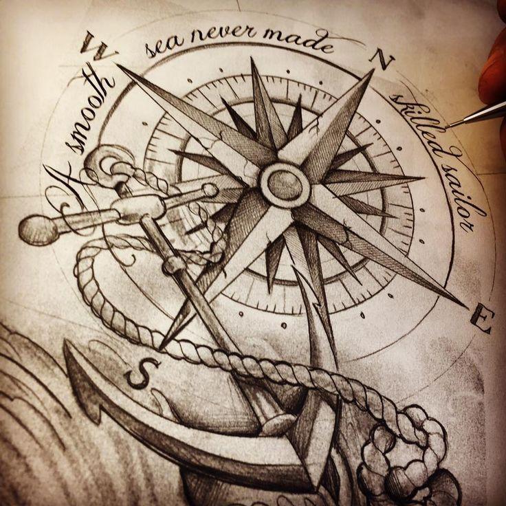 compass anchor tattoosketch