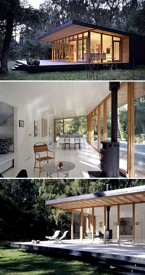 summer house in denmark | THE STYLE FILES - love top pic, the way inside flows to outside and clearing is surrounded by tall trees -