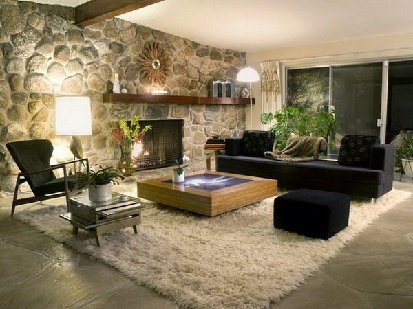 wandgestaltung wohnzimmer steinoptik rustikal shaggy teppich ...