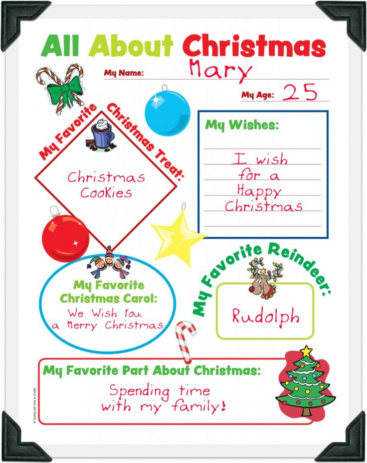 Free Christmas Worksheets: All About Christmas  from Guildcraft.